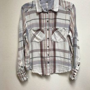 3/$25 Free People Plaid Long Sleeve Button Top